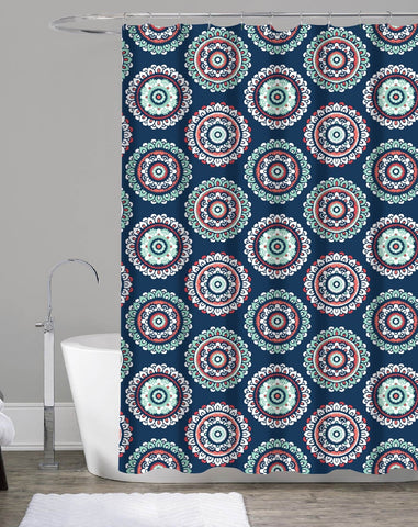 "Royal Bath Midnight Blue Mandala Burst Canvas Fabric Shower Curtain (70"" x 72"")"