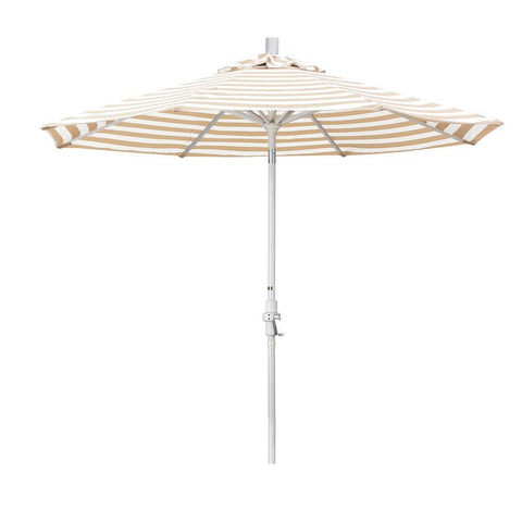 Eclipse Collection 9' Aluminum Market Umbrella Collar Tilt - Sand/Olefin/Khaki-Beige Stripe