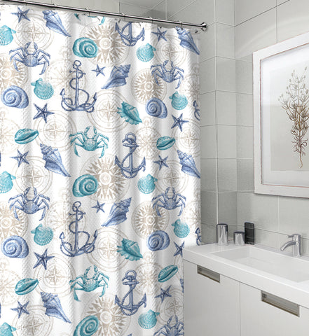 "Royal Bath Spirit of the Sea Canvas Fabric Shower Curtain (70"" x 72"") - Cape May Blue"