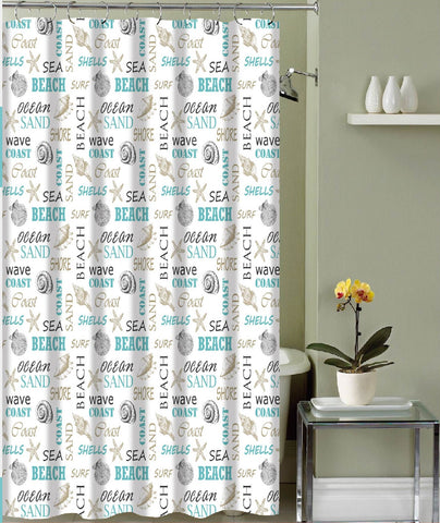 "Royal Bath Paradise Shore Canvas Fabric Shower Curtain (70"" x 72"") with Roller Hooks -"
