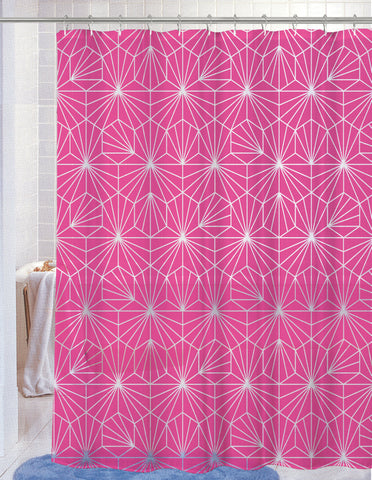 "Royal Bath Neon Spider WEB PEVA Non-Toxic Shower Curtain - 70"" x 72"" with 12 Matching Roller Hooks - Bright Fuschia"