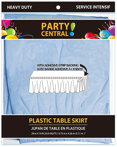 "Party Central Heavy Duty Plastic Table Skirt with Adhesive Backing (14'L x 29"" Drop) - Sky Blue"
