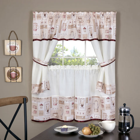 Traditional Elegance Cappuccino Embellished Cottage Window Curtain Set 58x36