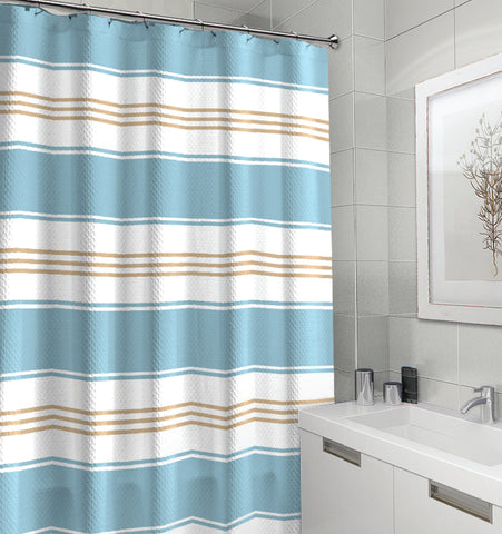 "Royal Bath Parallel Beauty Striped Canvas Fabric Shower Curtain (70"" x 72"") - Turquoise"
