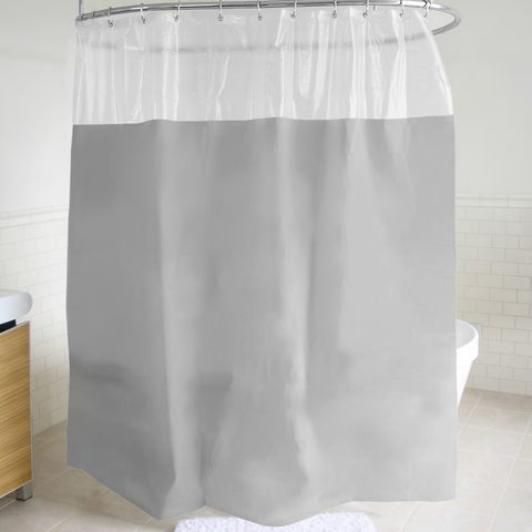 "Royal Bath PEVA Non-Toxic Peekaboo Window Shower Curtain (70"" x 72"") - Grey"