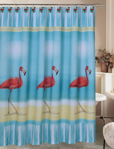 "Royal Bath Flamingo Paradise Fabric Shower Curtain (70"" x 72"") with 12 Matching Resin Shower Curtain Hooks"