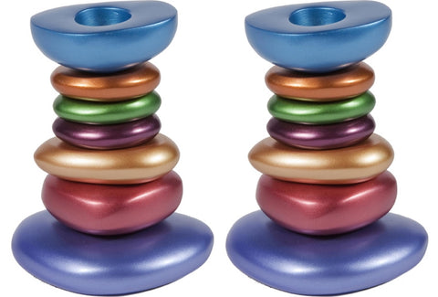 "Ben and Jonah Sabbath/Shabbos Metal Candlesticks - Anodized Aluminum Stone Tower Candlesticks - Multicolor - 4.5"" x 2.5"" x 3.3"""