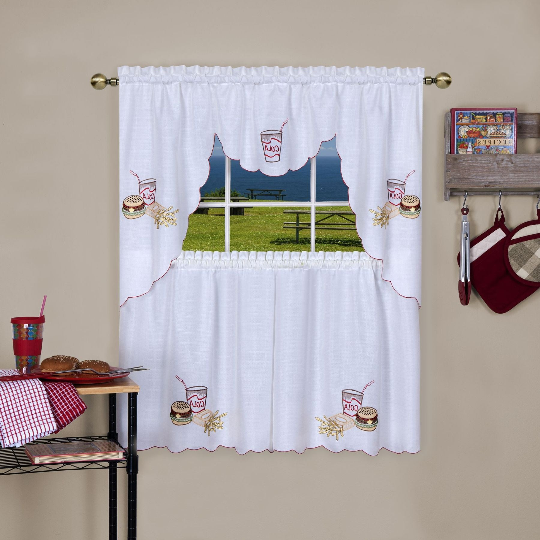 Traditional Elegance Fast Food Embellished Tier and Swag Window Curtain Set - 58x36