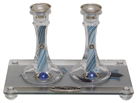 "Ben and Jonah Sabbath/Shabbos Crystal Candlesticks with Tray-Ocean Blue Applique - Tray 11 "" W X 6 "" L Candlesticks 6 "" H"