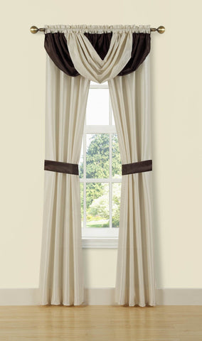 "Traditional Elegance 5 Piece Window Set (54"" x 84"") - Beige/Chocolate"