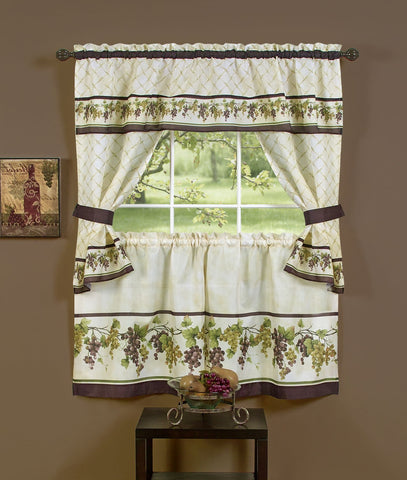 Traditional Elegance Tuscany Cottage Window Curtain Set - 57x24 Tier Pair/57x36 Tailored Topper with attached valance and tiebacks. - Multi