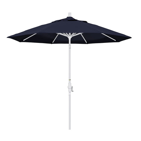Eclipse Collection 9' Aluminum Market Umbrella Collar Tilt - Matted White/Pacifica/Navy Blue