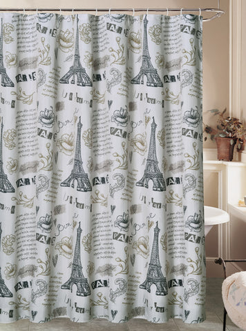 "Royal Bath Paris Ville de L'Amour Eiffel Tower Canvas Fabric Shower Curtain (70"" x 72"") with Roller Hooks - Ivory"
