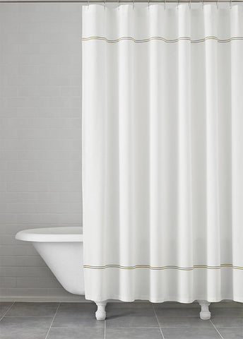 "Royal Bath Imperial 100% Cotton Extra Heavy Shower Curtain with Embroidered Champagne Stripes (72"" x 72"")"
