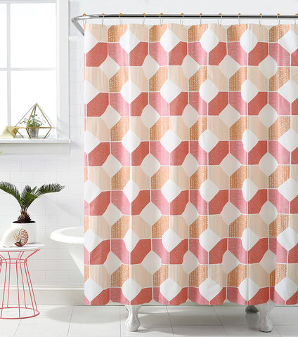 "Royal Bath Hexagonal Heaven PEVA Non-Toxic Shower Curtain - 72"" x 72""with 12 Matching Roller Hooks"