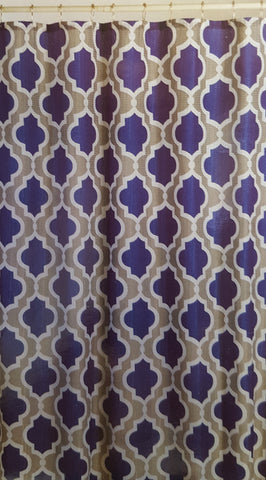 Monaco Blue Waffle Fabric Shower Curtain with Matching Roller Hooks