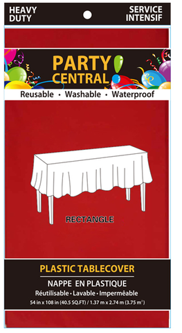 "Party Central Reusable Waterproof Plastic Rectangular Tablecover (54"" x 108"") - Red"