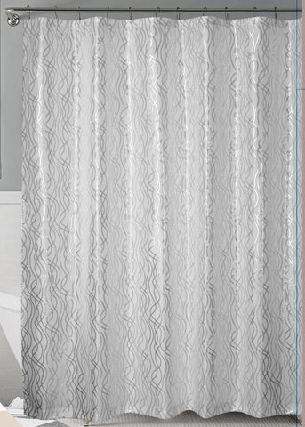 White/Silver Metallic Cadena de Plata Faux Silk Fabric Shower Curtain with Hooks