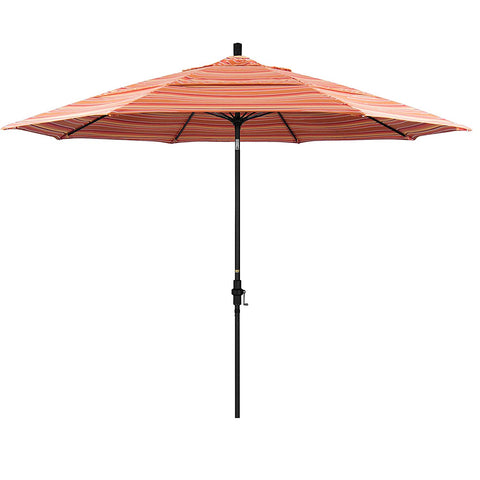 Eclipse Collection 11' Fiberglass Market Umbrella Collar Tilt DV Matt Black/Sunbrella/Dolce Mango