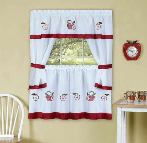 Traditional Elegance Gala Embellished Cottage Window Curtain Set 58x36