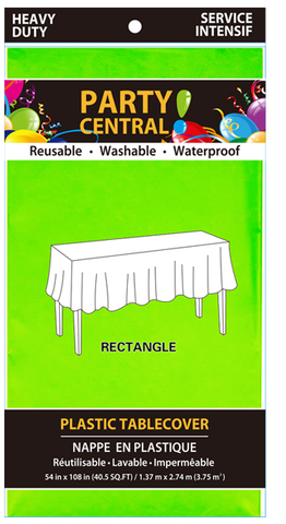 "Party Central Reusable Waterproof Plastic Rectangular Tablecover (54"" x 108"") - Neon Green"