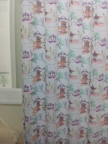 "Royal Bath Imperial China Water Repellant Fabric Shower Curtain -70"" x 72"""