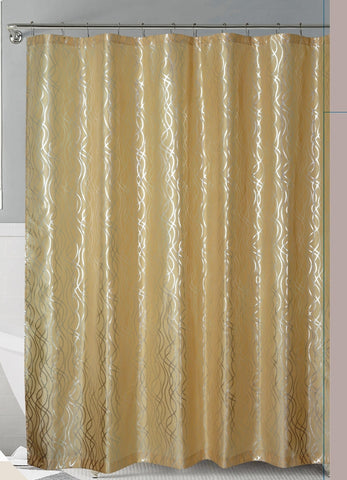 Gold/Silver Metallic Cadena de Plata Faux Silk Fabric Shower Curtain with Hooks