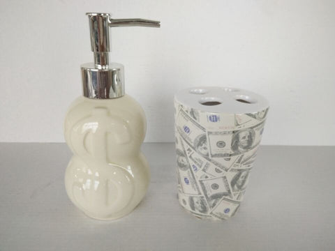 Royal Bath Novelty It's All About the Benjamins 2 Piece Ceramic Bath Set: 1 Lotion Pump and 1 Toothbrush Holder - Ivory