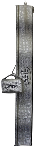 Ben and Jonah Vinyl Lulav and Esrog Bag Set- Grey Croc- Grey Embroidery Circle Style