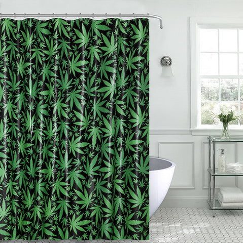 "Royal Bath Novelty Mary Jane Marijuana Leaf PEVA Non-Toxic Shower Curtain (70"" x 72"") with Matching Roller Hooks"