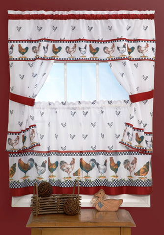 Traditional Elegance Top of the Morning Cottage Window Curtain Set - 57x36 Tier Pair/57x36 Tailored Topper with attached valance and tiebacks. - Black/White