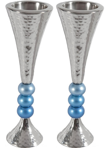 "Ben and Jonah Sabbath/Shabbos Metal Candlesticks -Anodized Aluminum Beaded Stem Hammered Candlesticks - Silver/Turquoise- 2.3"" x 7""H"