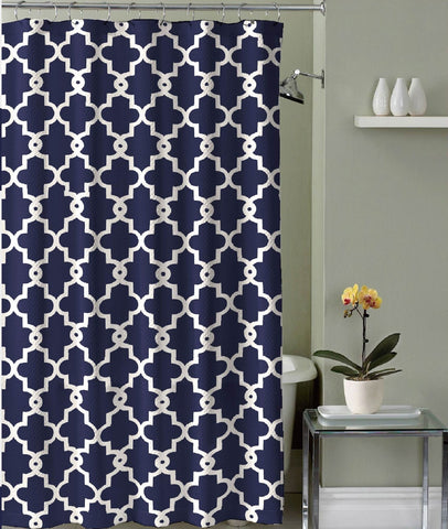 "Royal Bath Blue Moroccan Mosaic Canvas Fabric Shower Curtain (70"" x 72"") with Roller Hooks"