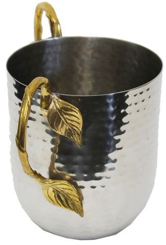 Ben and Jonah Washing Cup Hammered Stainless Steel-With Gold Leaf Handles