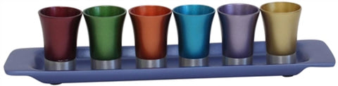 Ben and Jonah Liquor Shot Cups Set- 6 Cups with Tray- Multicolor with Blue Tray