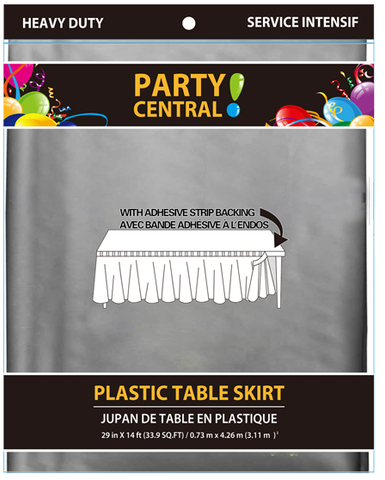 "Party Central Heavy Duty Plastic Table Skirt with Adhesive Backing (14'L x 29"" Drop) - Silver"