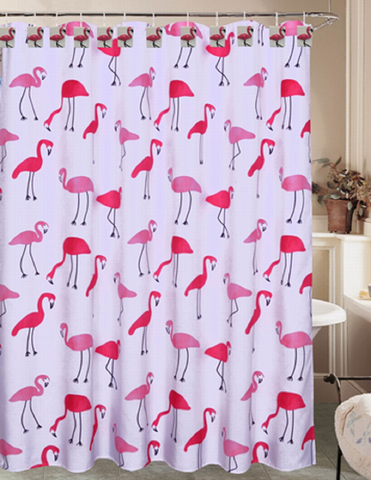 "Royal Bath Simply Flamingo Fabric Shower Curtain (70"" x 72"") with 12 Matching Resin Shower Curtain Hooks"