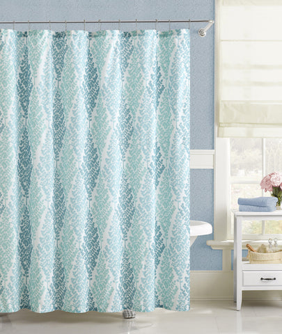 "Royal Bath Fern Diamonds Embossed Microfiber Fabric Shower Curtain - 72"" x 72"""