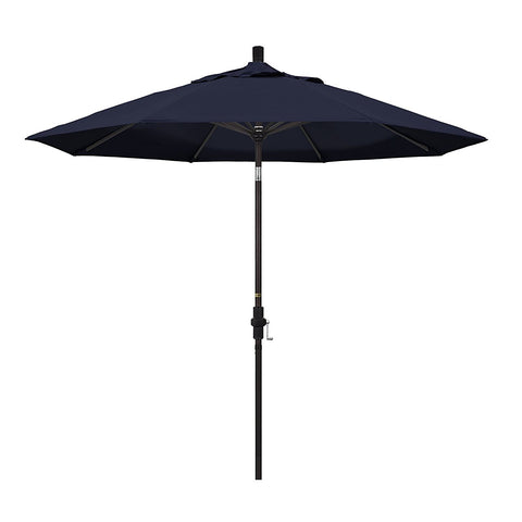 Eclipse Collection 9' Aluminum Market Umbrella Collar Tilt - Bronze/Pacifica/Navy Blue