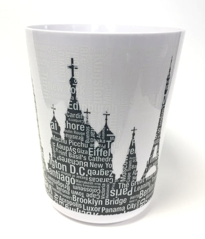 "Royal Bath Metro Landmarks Wastebasket (9.75""H x 8""Dia Top)"