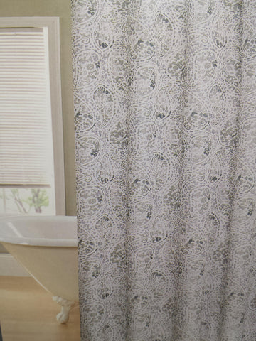 "Royal Bath Leopard Swirl Water Repellant Fabric Shower Curtain -70"" x 72"" with 12 Metal Roller Hooks"