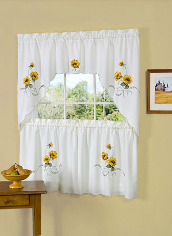 Traditional Elegance Sunshine Embellished Tier and Swag Window Curtain Set - 58x36