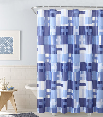 "Royal Bath Perpendicular Paradise PEVA Non-Toxic Shower Curtain - 72"" x 72""with 12 Matching Roller Hooks"