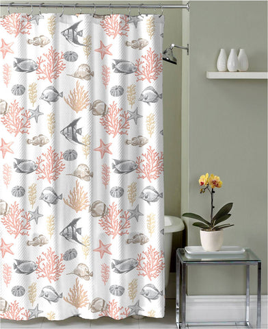 "Royal Bath Spirit of the Sea Canvas Fabric Shower Curtain (70"" x 72"") - Aruba Coral"