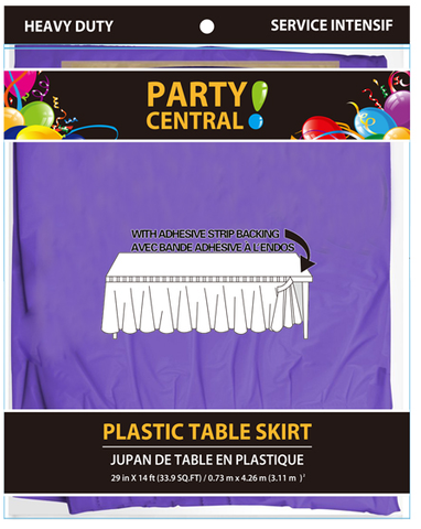 "Party Central Heavy Duty Plastic Table Skirt with Adhesive Backing (14'L x 29"" Drop) - Purple"