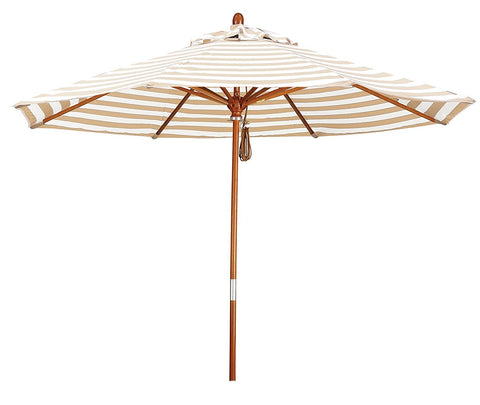 Eclipse Collection 9' Wood Market Umbrella Pulley Open Marenti Wood/Olefin/Khaki-Beige Stripe
