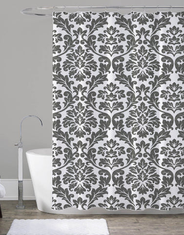 "Royal Bath Charcoal Vine Print Canvas Fabric Shower Curtain (70"" x 72"")"