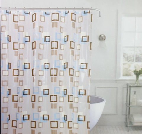 "Royal Bath Metro Squares PEVA Non-Toxic Shower Curtain (70"" x 72"") with Matching Roller Hooks - Brown"