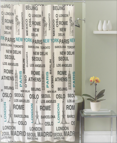"Royal Bath Mundial Around the World Canvas Fabric Shower Curtain (70"" x 72"") with Roller Hooks -"