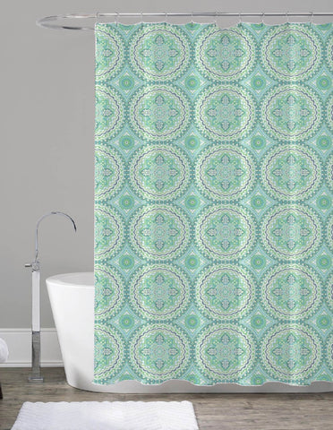 "Royal Bath Turquoise Floral Mandala Canvas Fabric Shower Curtain (70"" x 72"")"